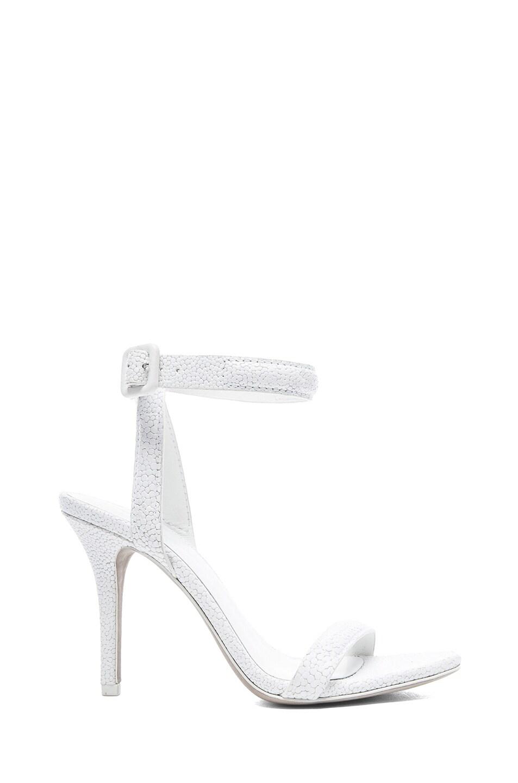 Image 1 of Alexander Wang Antonia Stingray Embossed Leather Heels in Peroxide