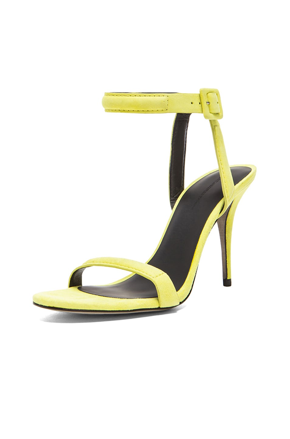 Image 2 of Alexander Wang Antonia Suede Ankle Strap Heels in Citrine