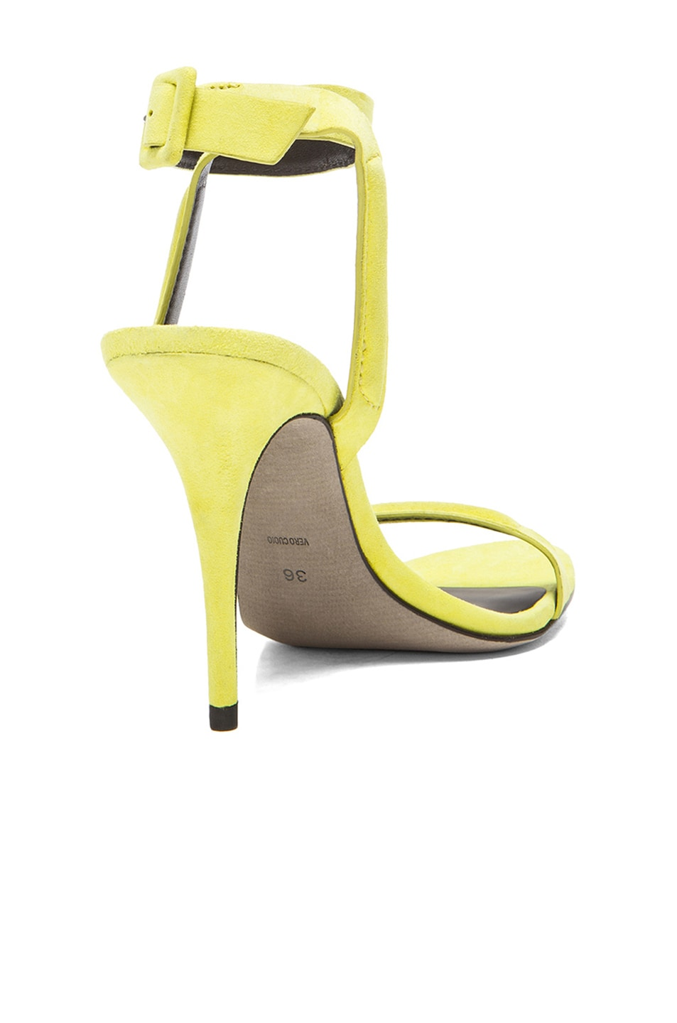 Image 3 of Alexander Wang Antonia Suede Ankle Strap Heels in Citrine