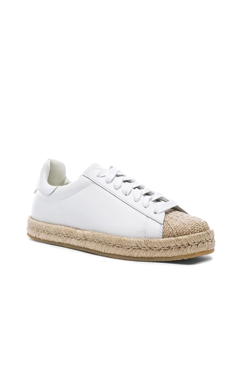 Image 2 of Alexander Wang Leather Rian Espadrilles in Optic White