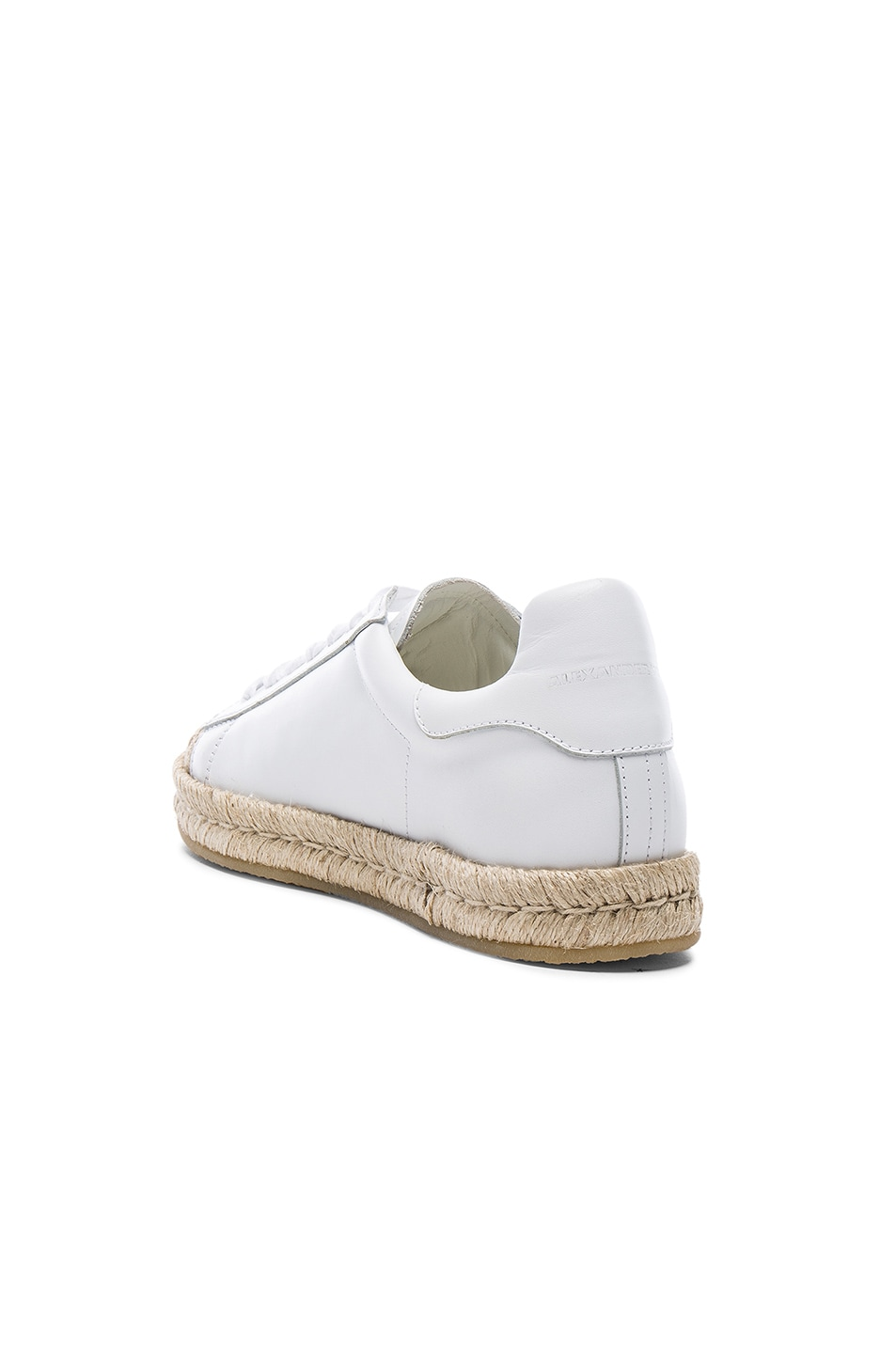 Image 3 of Alexander Wang Leather Rian Espadrilles in Optic White