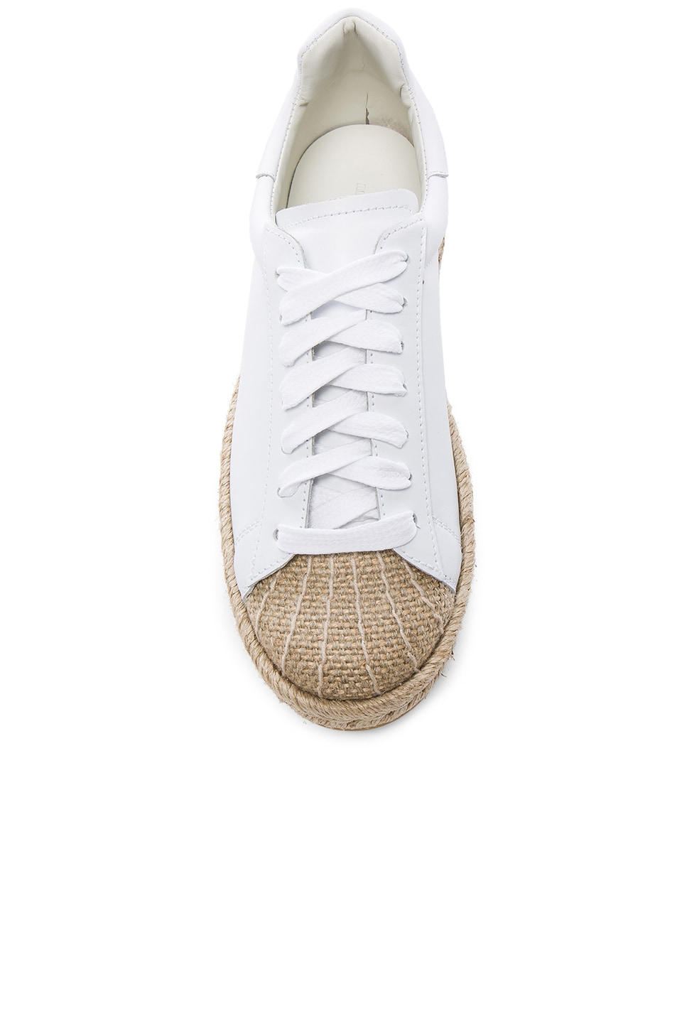 Image 4 of Alexander Wang Leather Rian Espadrilles in Optic White