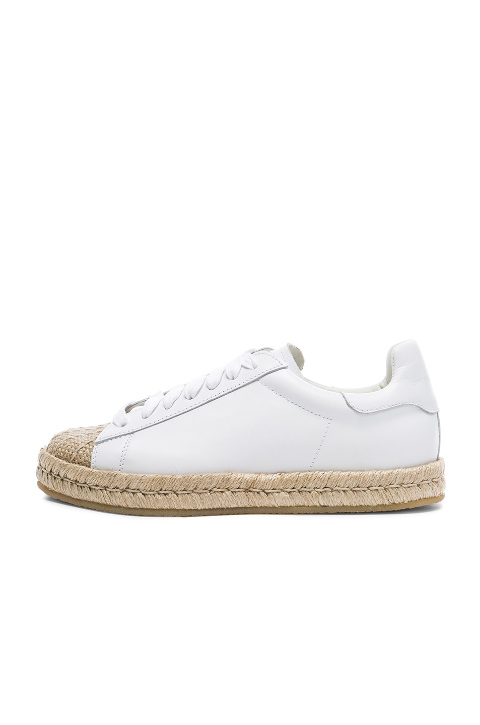 Image 5 of Alexander Wang Leather Rian Espadrilles in Optic White