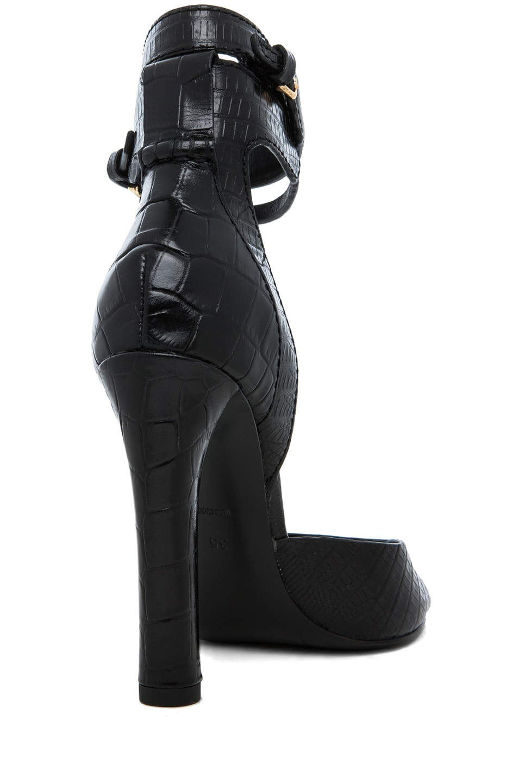 Image 3 of Alexander Wang Aminata Croc & Lizard Print Ankle Cuff Sandal in Black