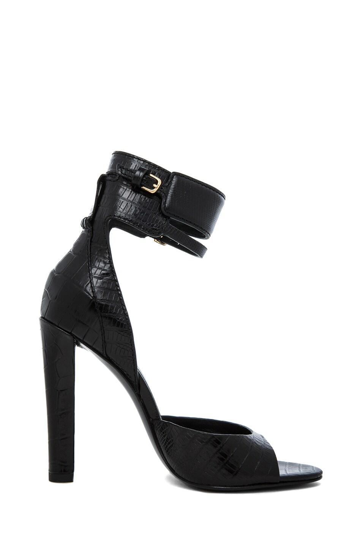 Image 5 of Alexander Wang Aminata Croc & Lizard Print Ankle Cuff Sandal in Black