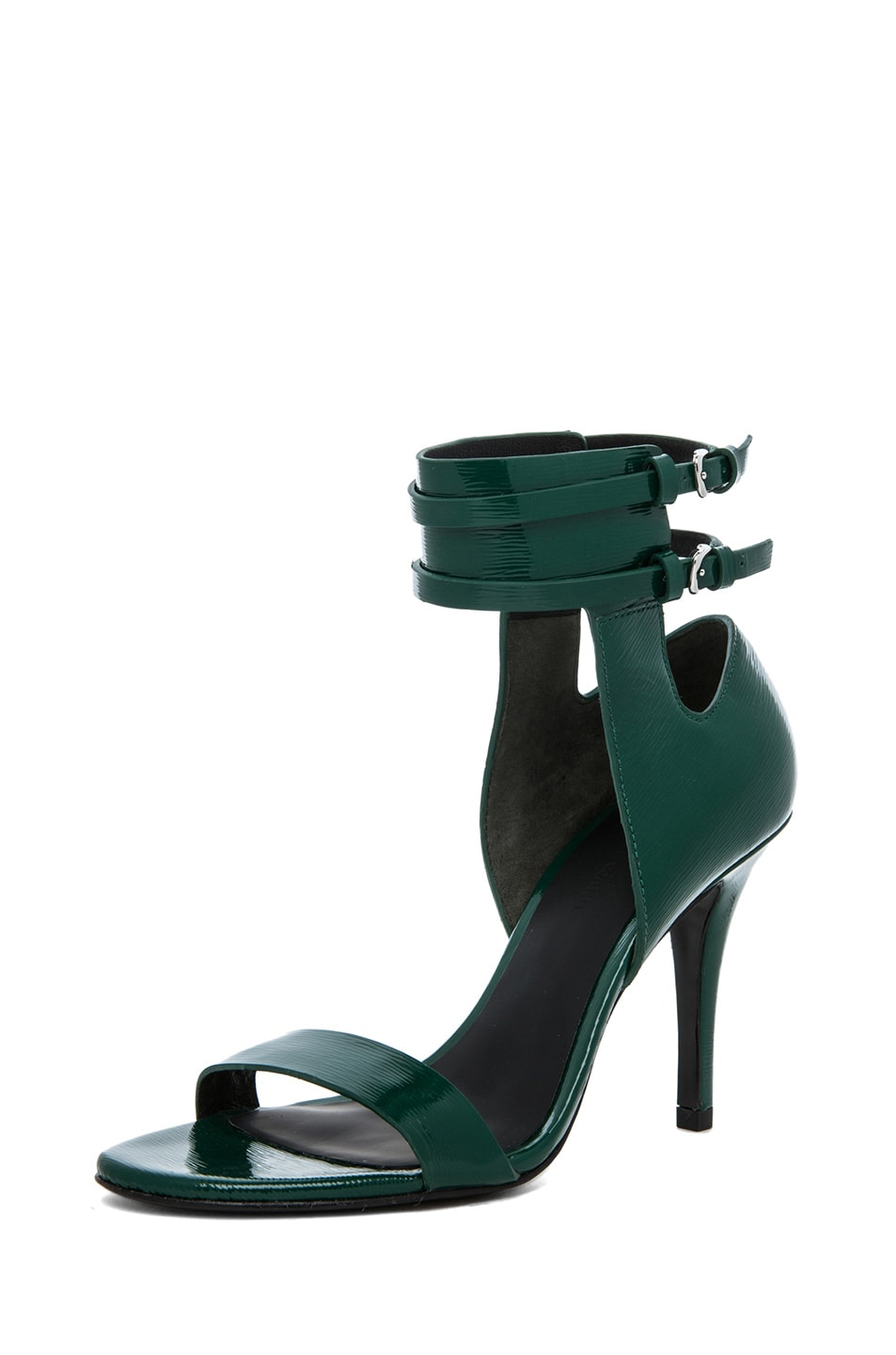 Image 2 of Alexander Wang Johanna Shiny Calf Ankle Cuff Sandal in Vine