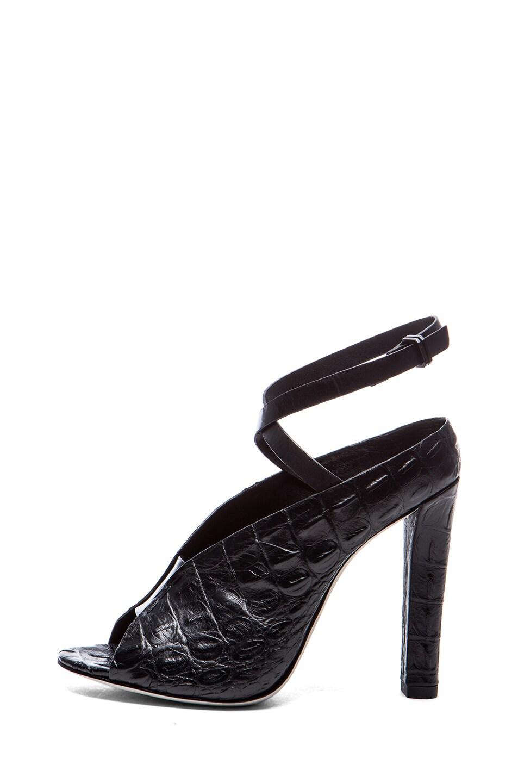 Image 1 of Alexander Wang Clara Croc Embossed Leather Heels in Black
