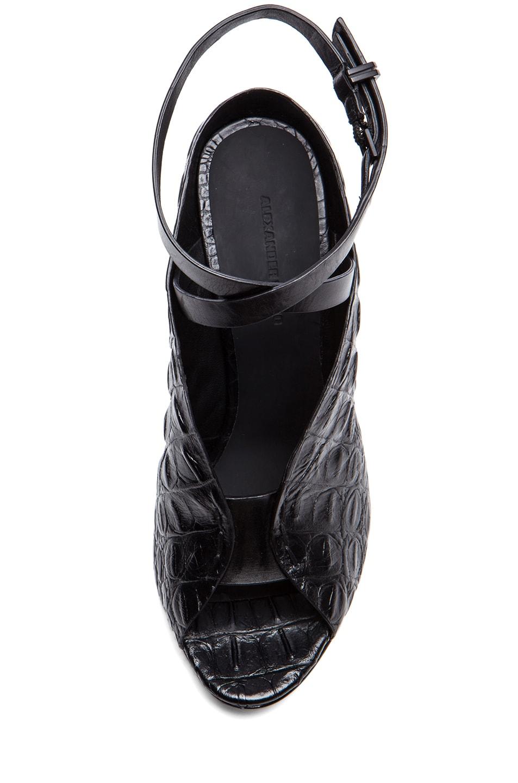 Image 4 of Alexander Wang Clara Croc Embossed Leather Heels in Black
