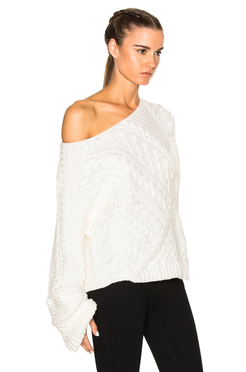 White Cable Knit Sweater Women