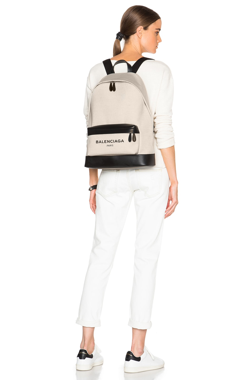 Image 2 of Balenciaga Navy Backpack in Black & Natural
