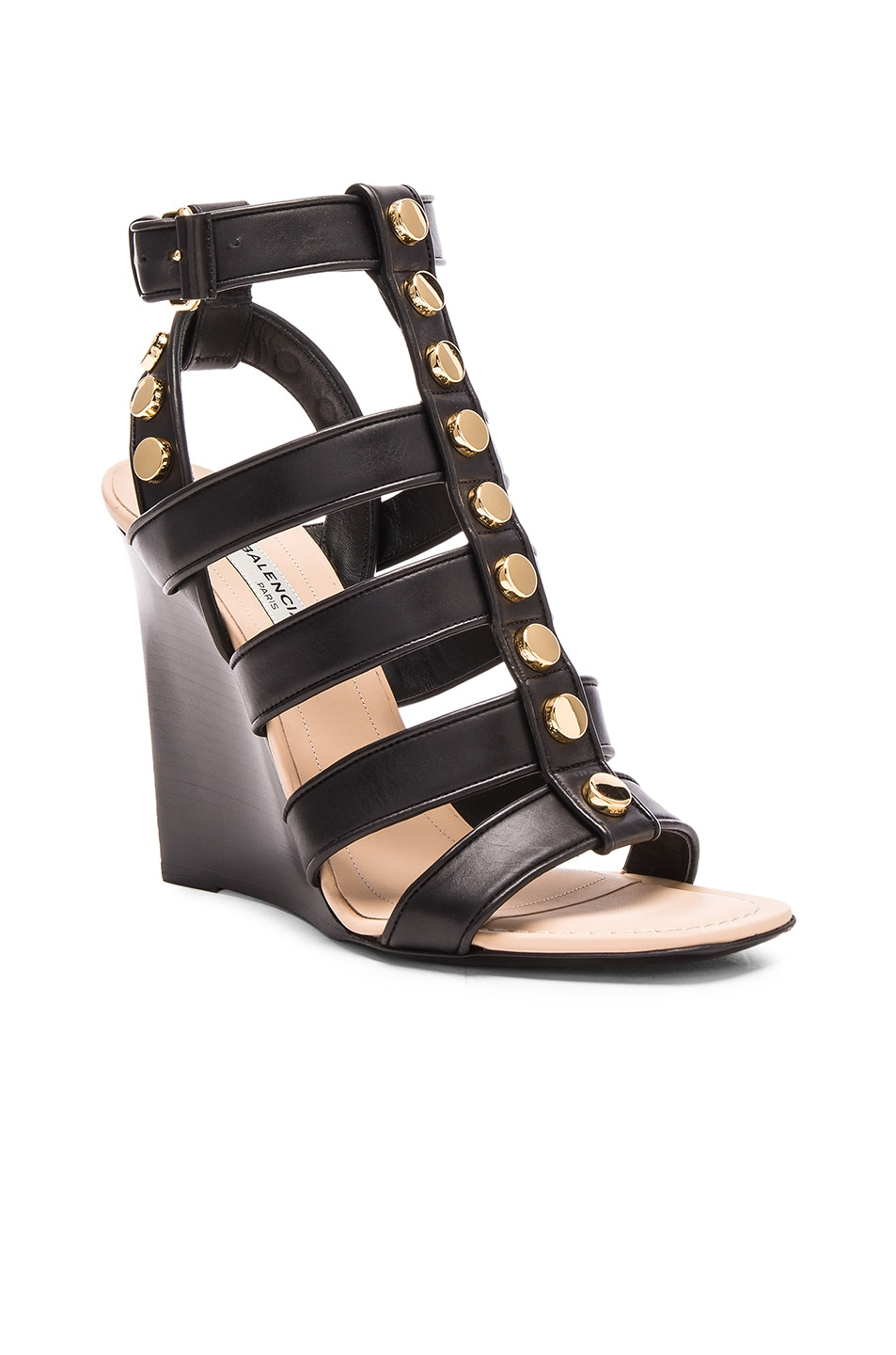 Image 2 of Balenciaga Studded Leather Wedge Sandals in Black
