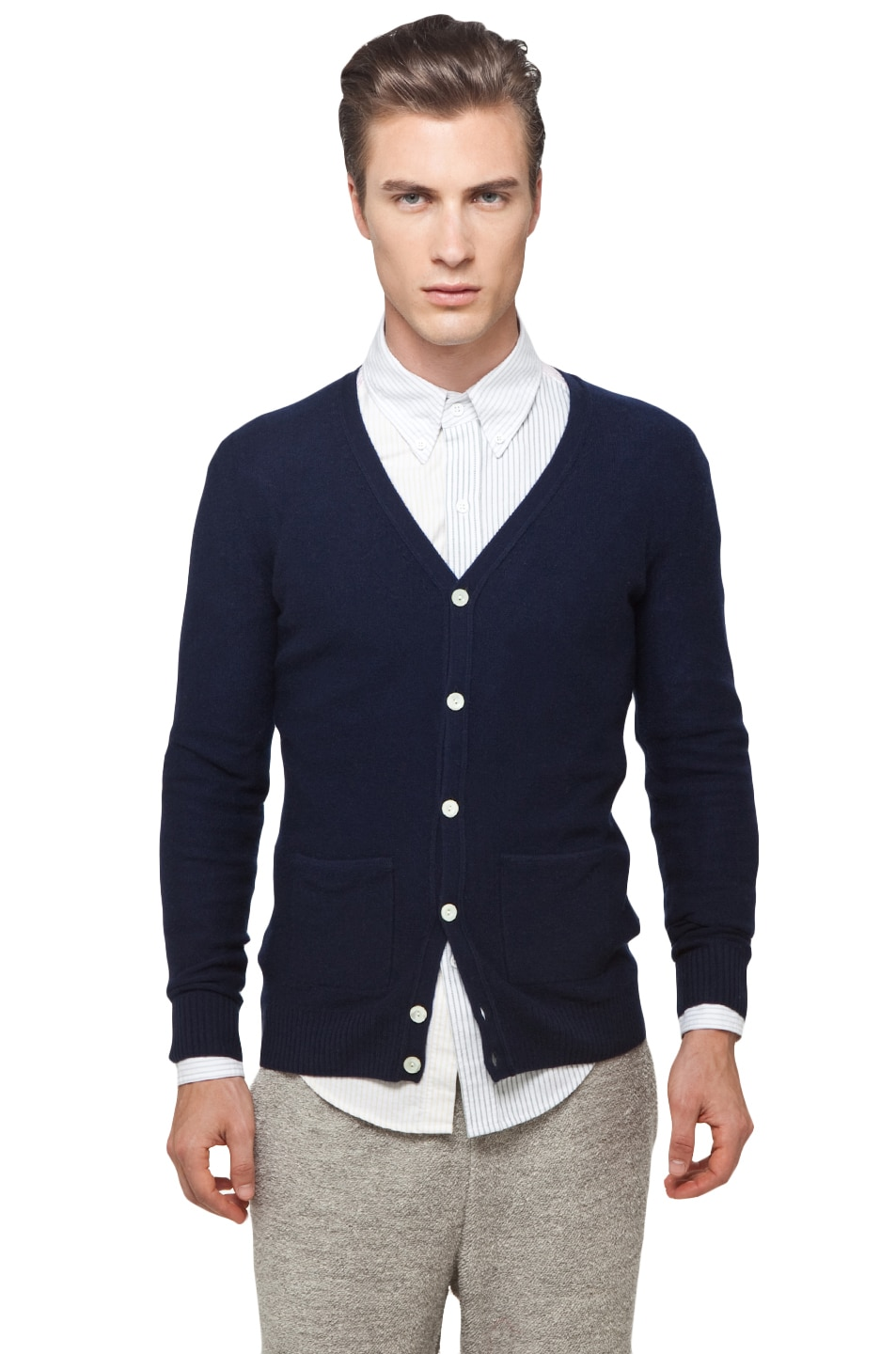 Image 1 of Band of Outsiders Classic Cardigan in Navy