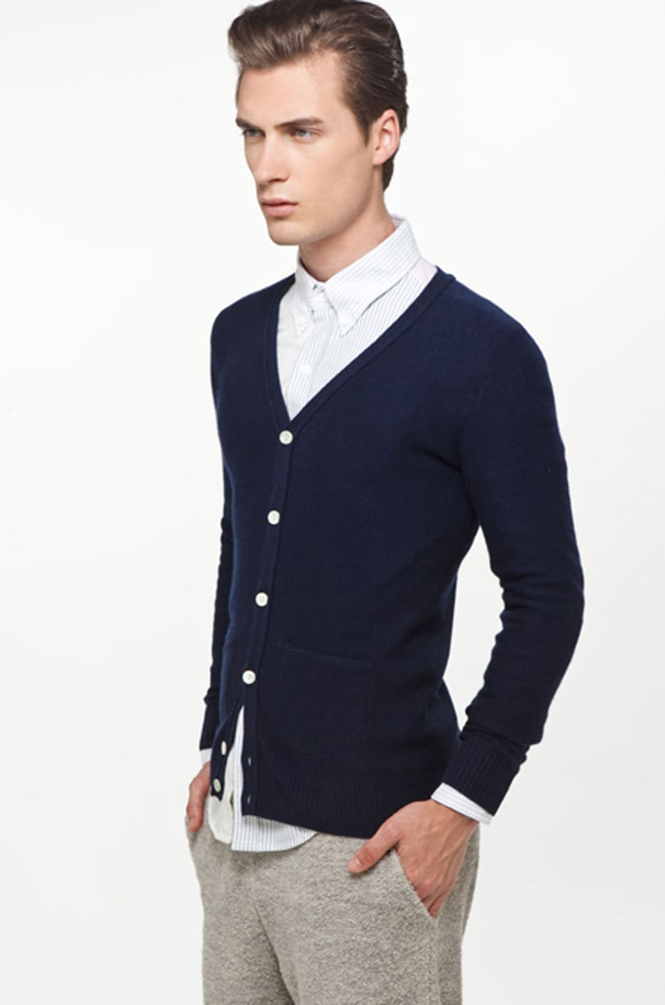 Image 2 of Band of Outsiders Classic Cardigan in Navy