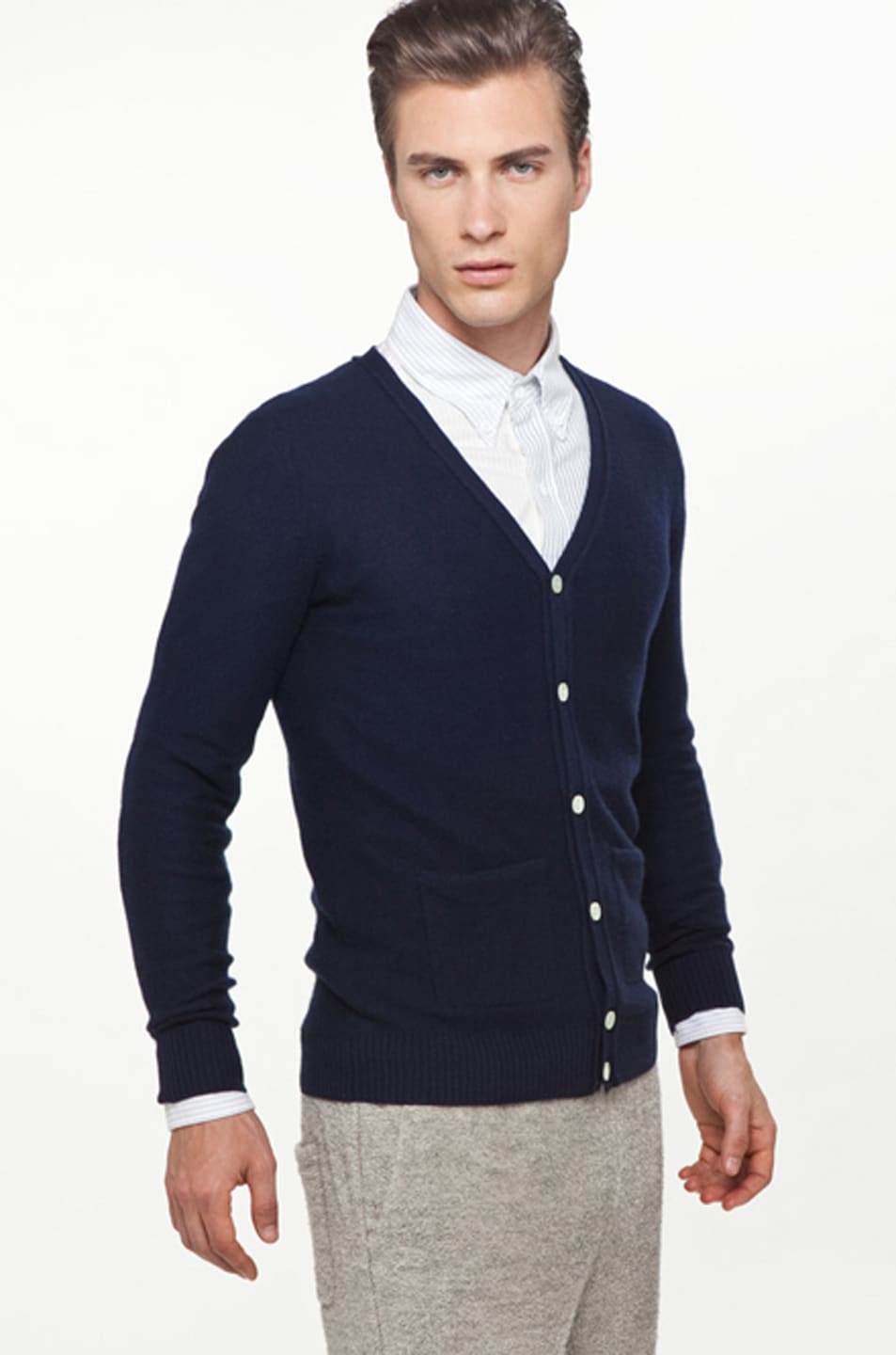 Image 3 of Band of Outsiders Classic Cardigan in Navy