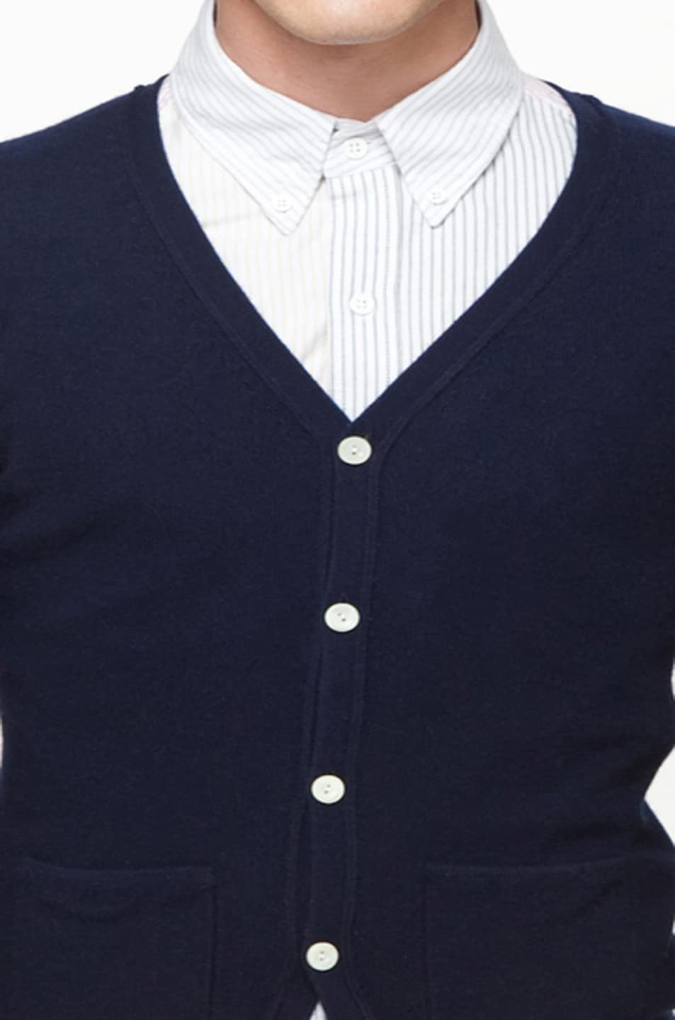 Image 5 of Band of Outsiders Classic Cardigan in Navy