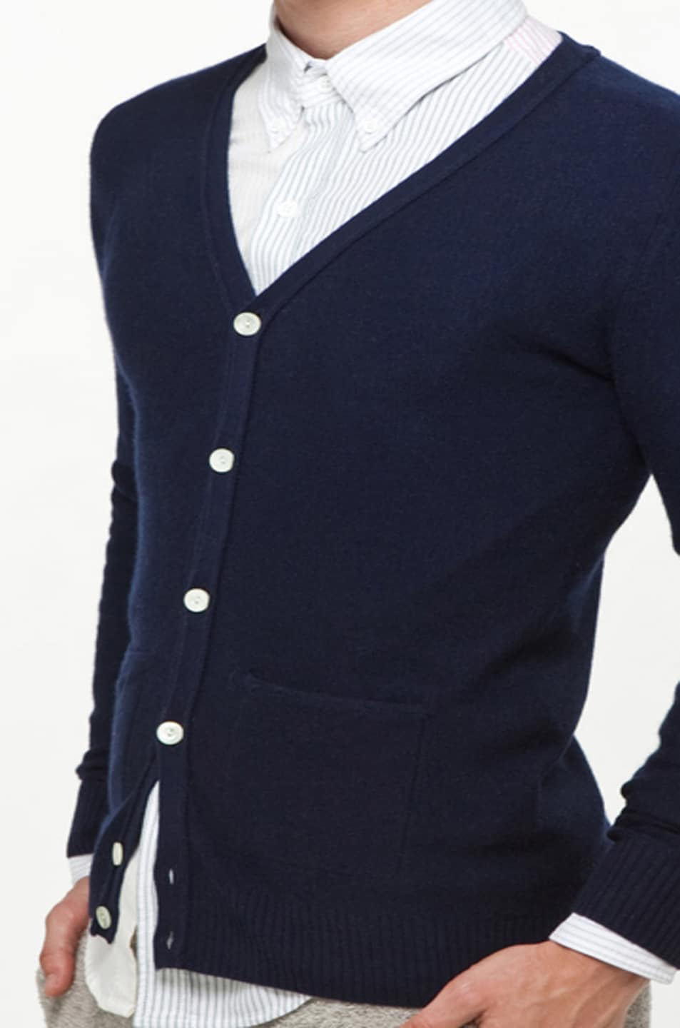 Image 6 of Band of Outsiders Classic Cardigan in Navy