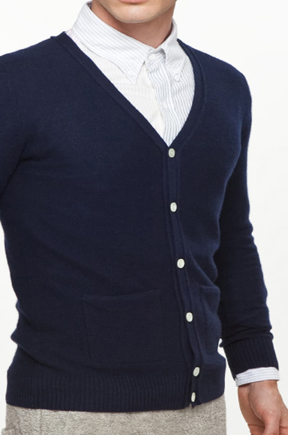 Image 7 of Band of Outsiders Classic Cardigan in Navy