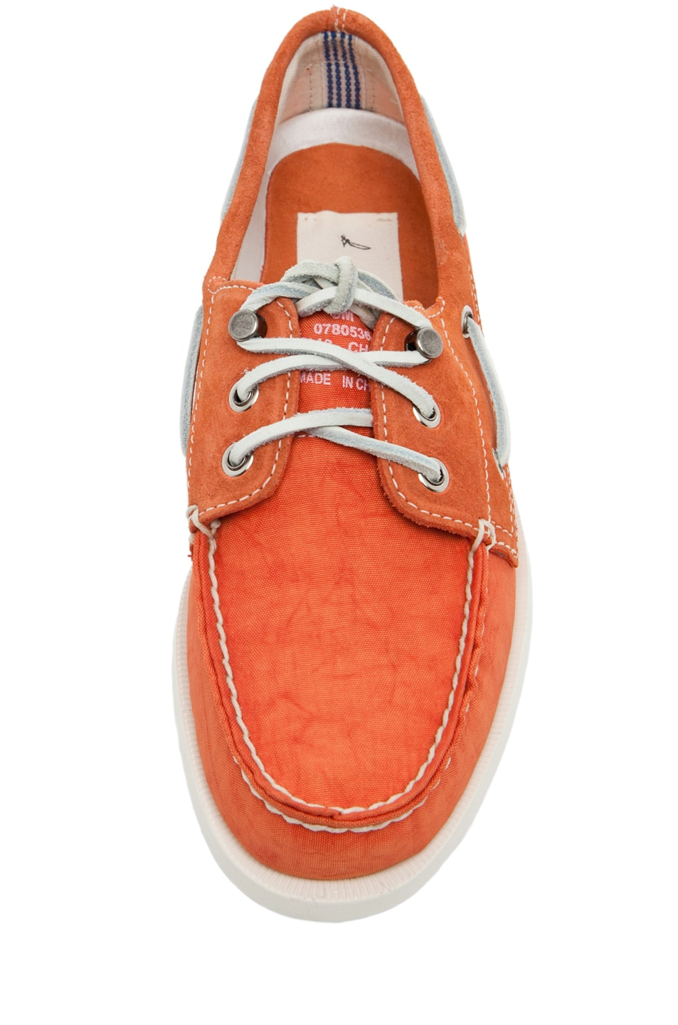Image 4 of Band of Outsiders x Sperry Top-Sider 3 Eye Boat Shoe in Orange