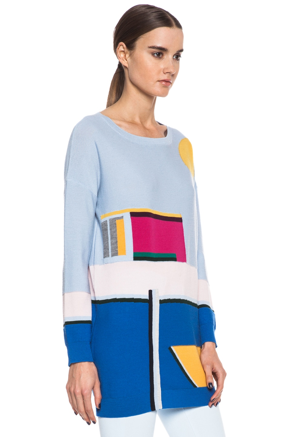 Image 3 of Band of Outsiders Pool Intarsia Merino Wool Sweater in Light Blue