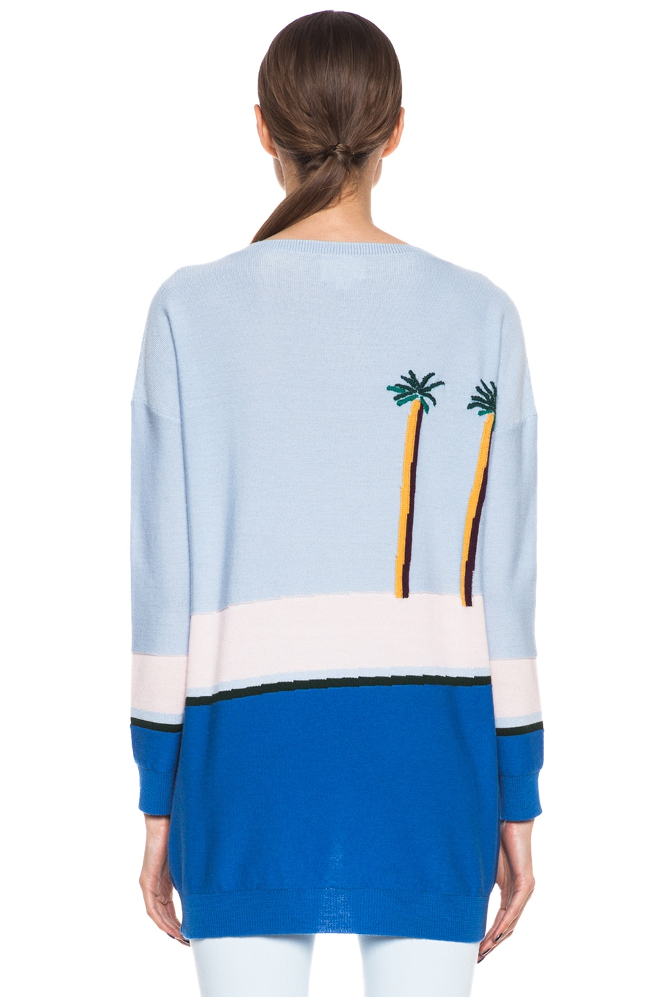 Image 4 of Band of Outsiders Pool Intarsia Merino Wool Sweater in Light Blue