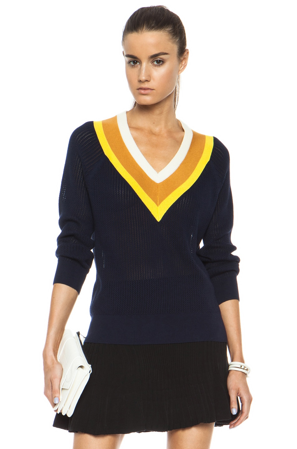 Image 1 of Band of Outsiders Stripe Tennis Knit Sweater in Navy