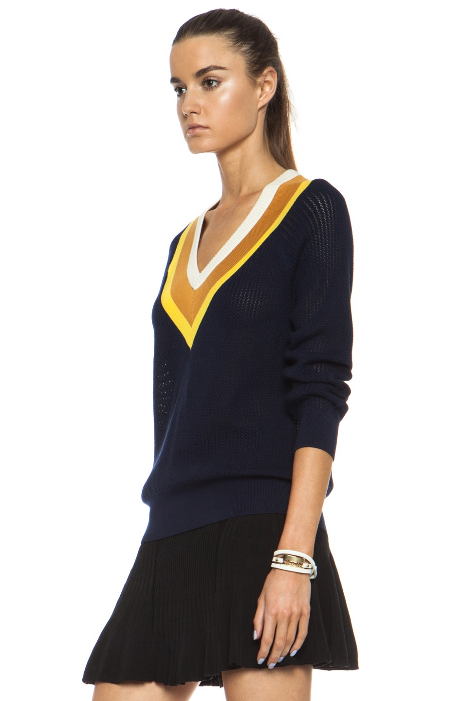 Image 2 of Band of Outsiders Stripe Tennis Knit Sweater in Navy