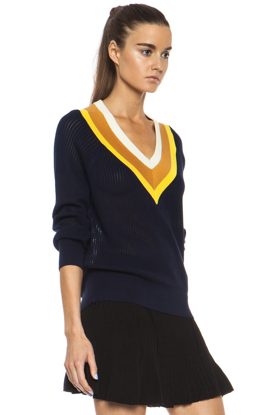 Image 3 of Band of Outsiders Stripe Tennis Knit Sweater in Navy
