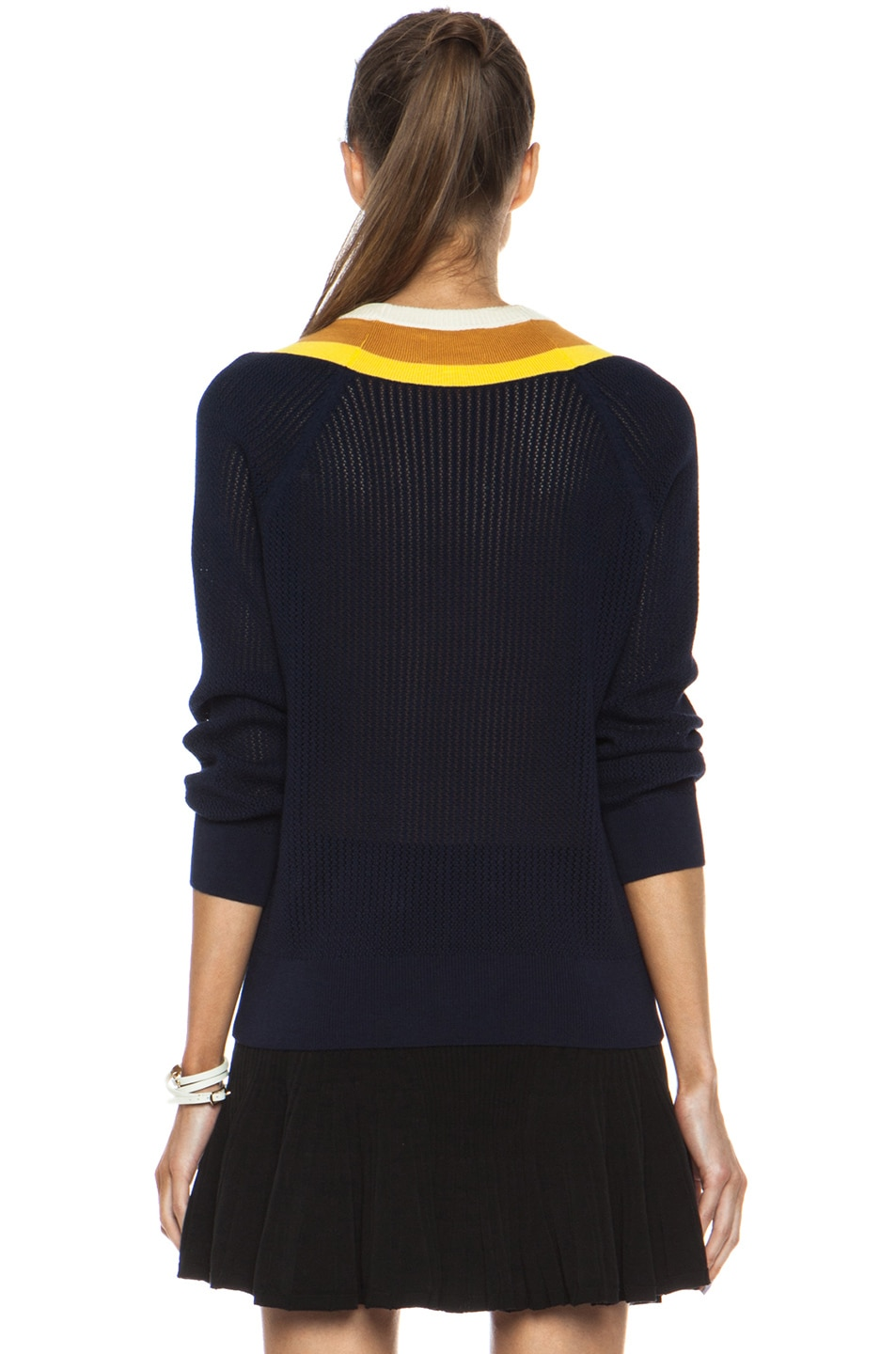 Image 4 of Band of Outsiders Stripe Tennis Knit Sweater in Navy