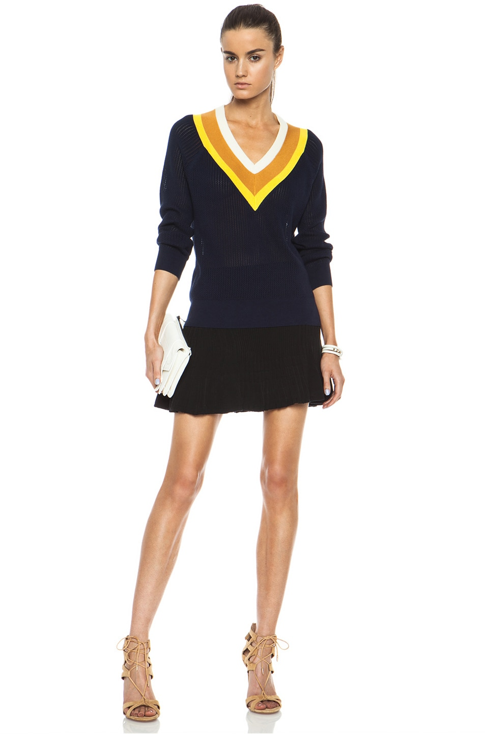 Image 5 of Band of Outsiders Stripe Tennis Knit Sweater in Navy