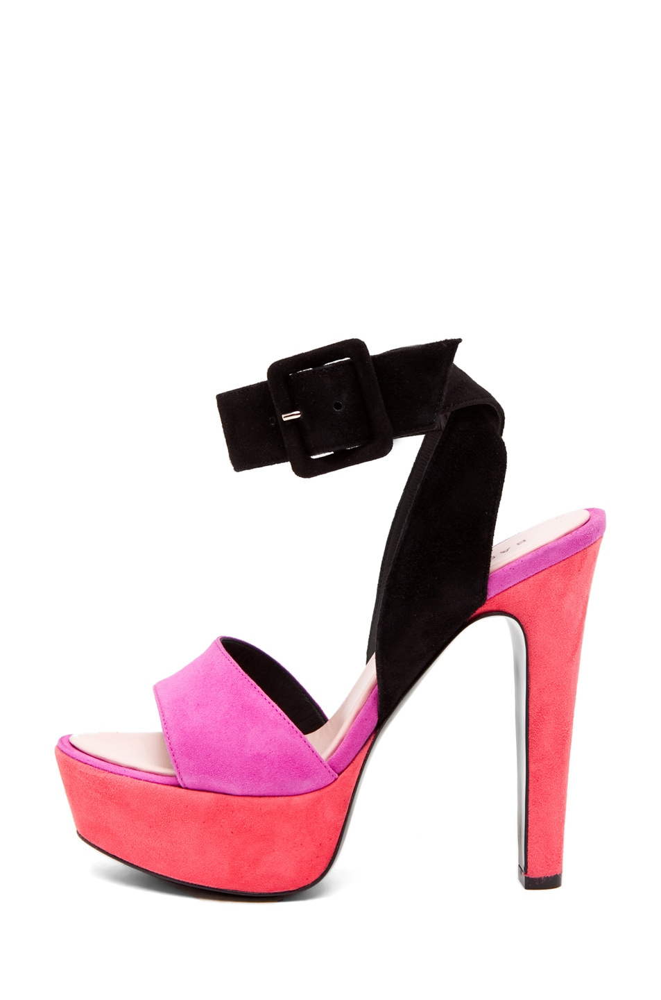 Image 1 of Barbara Bui Ankle Strap Heel in Pink/Black