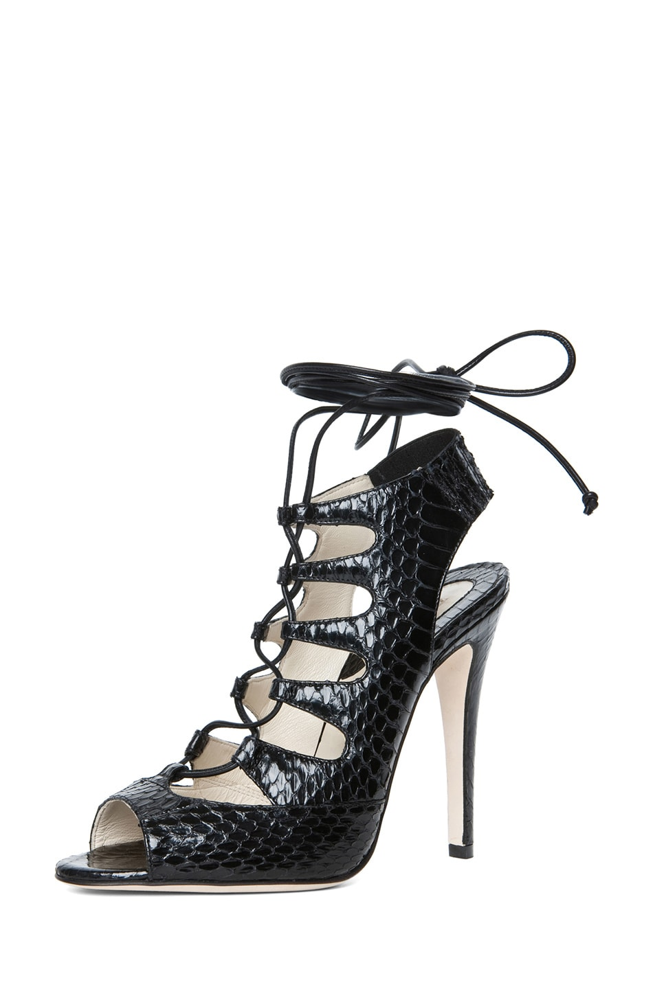 Image 2 of Brian Atwood Tie Me Up Snakeskin Lace Up Sandal in Black Snake