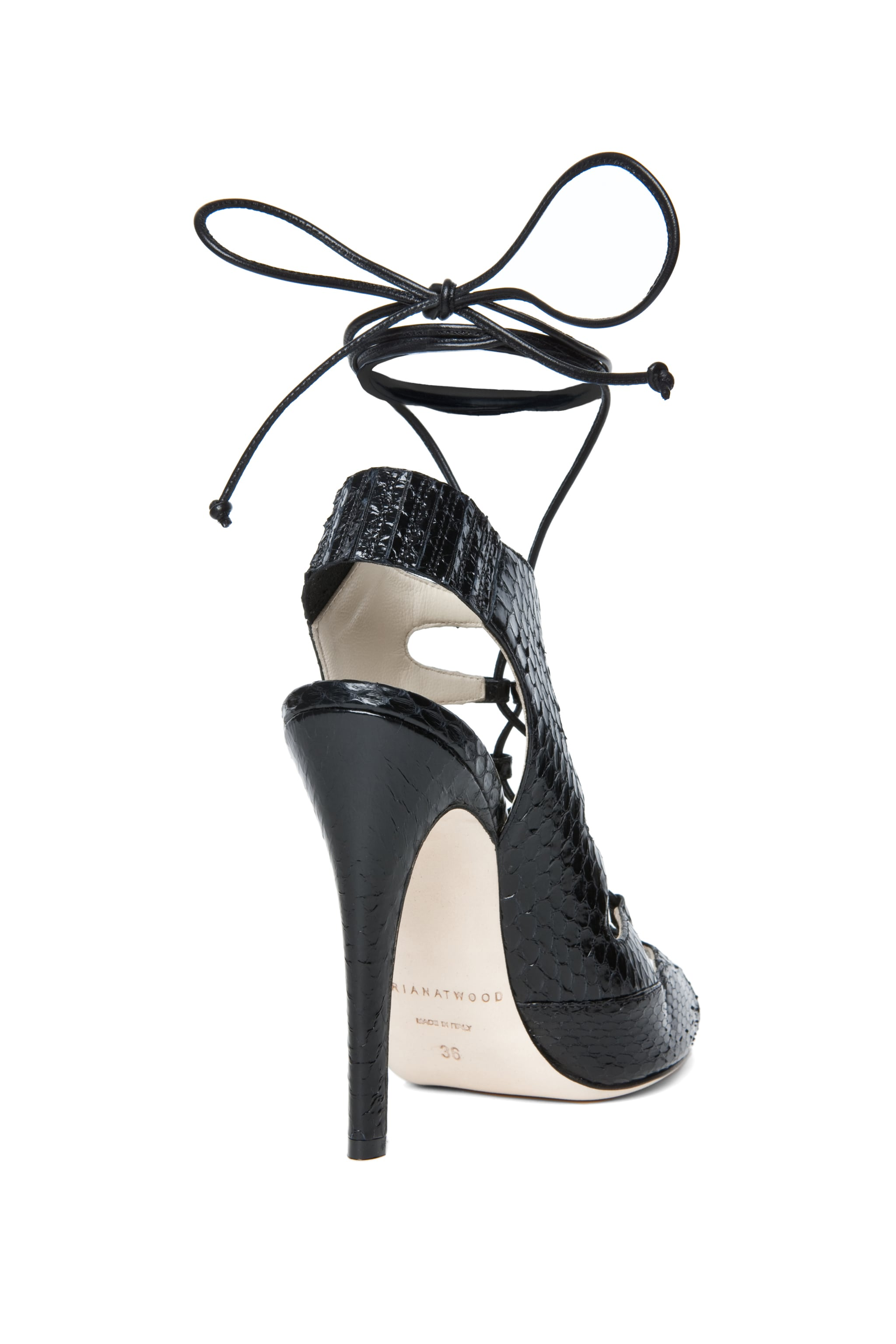 Image 3 of Brian Atwood Tie Me Up Snakeskin Lace Up Sandal in Black Snake