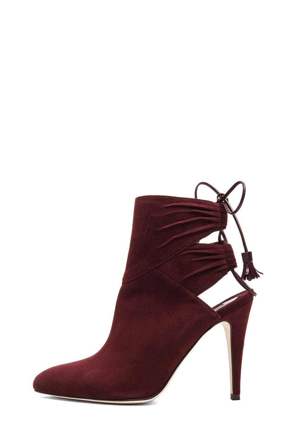 Image 1 of Brian Atwood Aron Suede Booties in Bordeaux