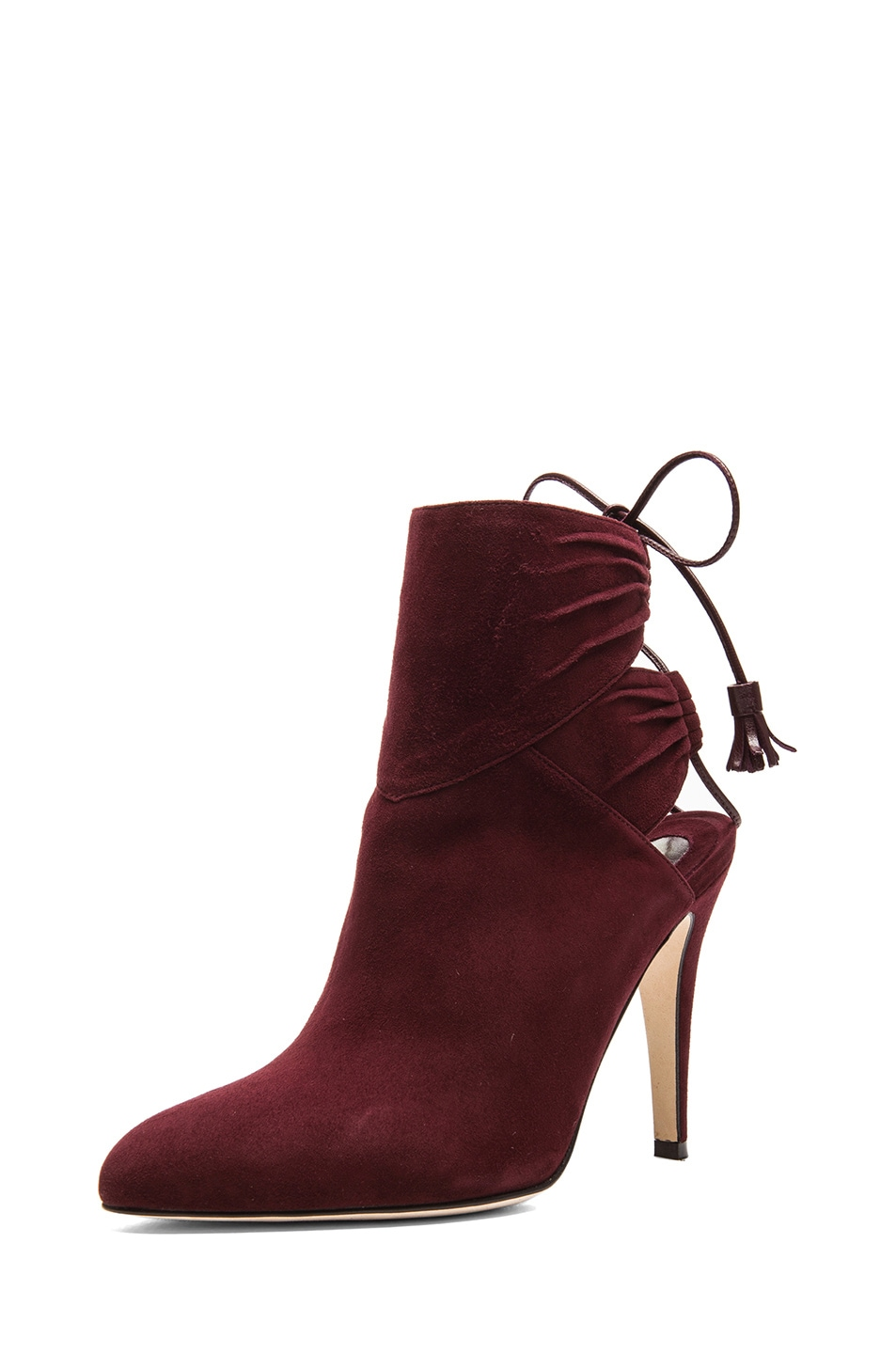 Image 2 of Brian Atwood Aron Suede Booties in Bordeaux