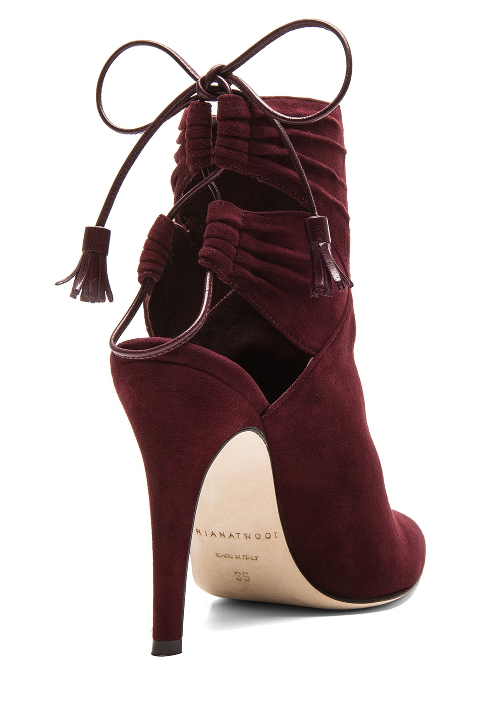 Image 3 of Brian Atwood Aron Suede Booties in Bordeaux