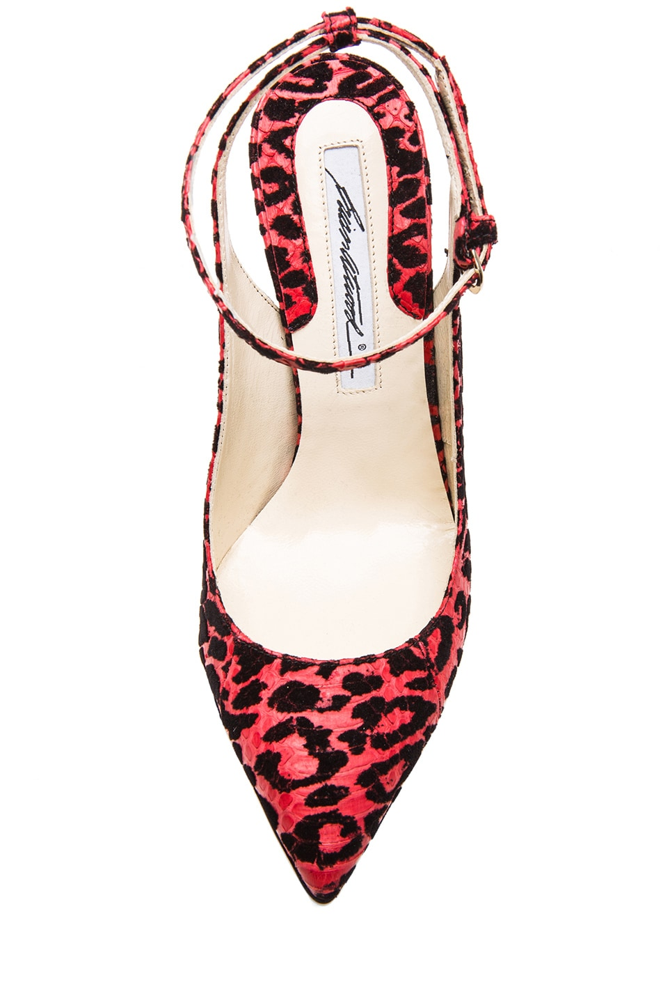 Image 4 of Brian Atwood Lilith Snakeskin Slingback Pumps in Red Leopard