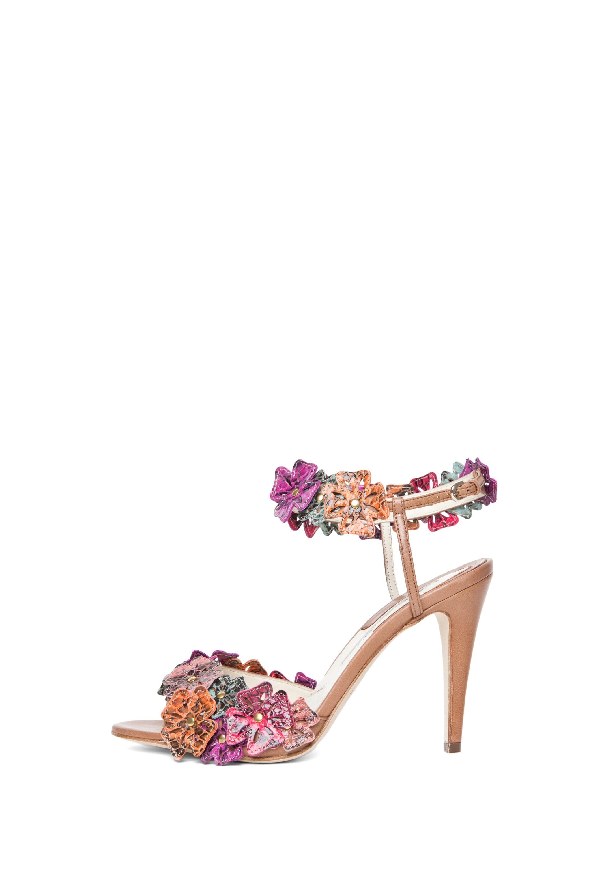 Image 1 of Brian Atwood Coraline Leather Flower Sandals in Snake Multi