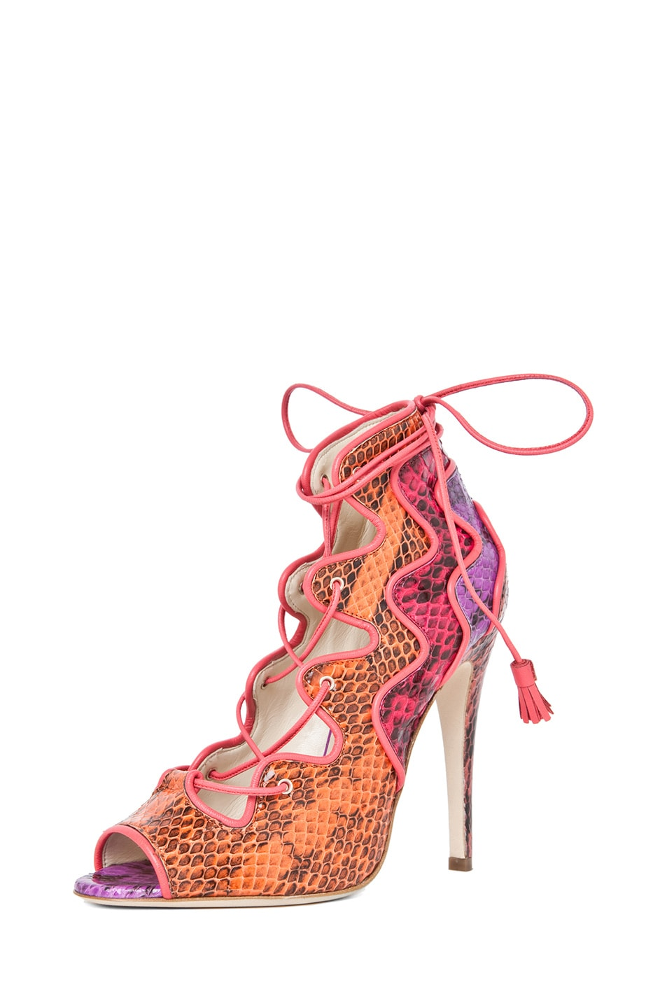 Image 2 of Brian Atwood Kayla Snakeskin Lace Up Bootie in Snake Multi