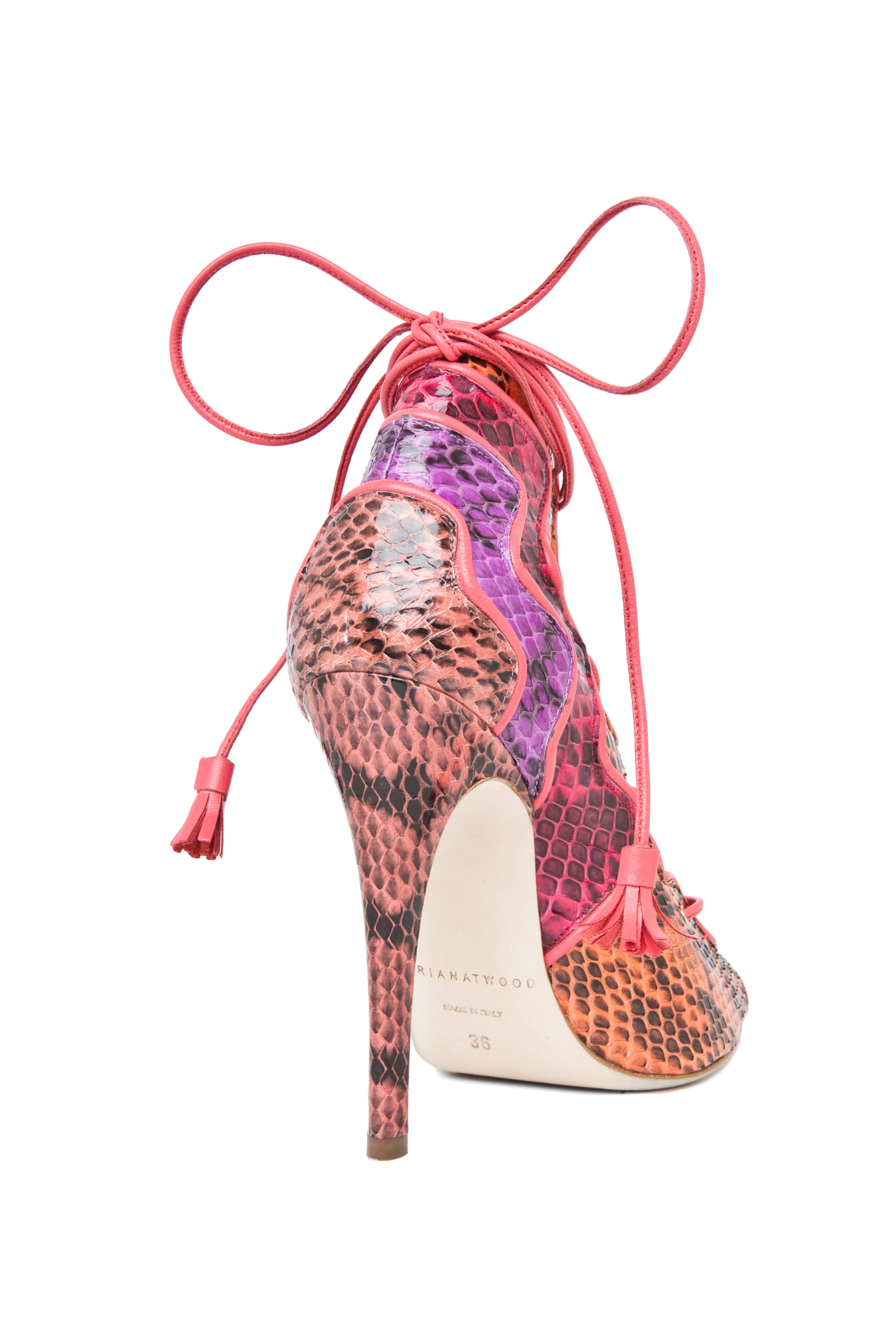 Image 3 of Brian Atwood Kayla Snakeskin Lace Up Bootie in Snake Multi
