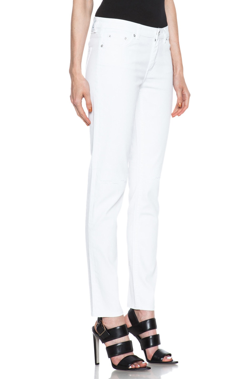 Image 3 of BLK DNM Low Waisted Skinny Straight Leg in Monitor White