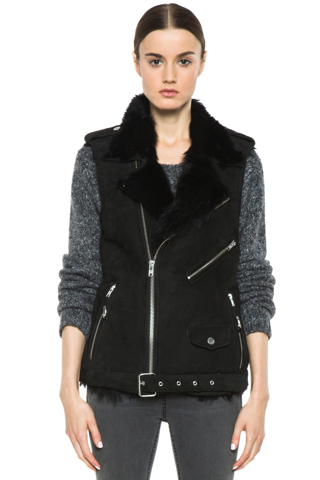 Image 2 of BLK DNM Shearling Motorcycle Vest in Black