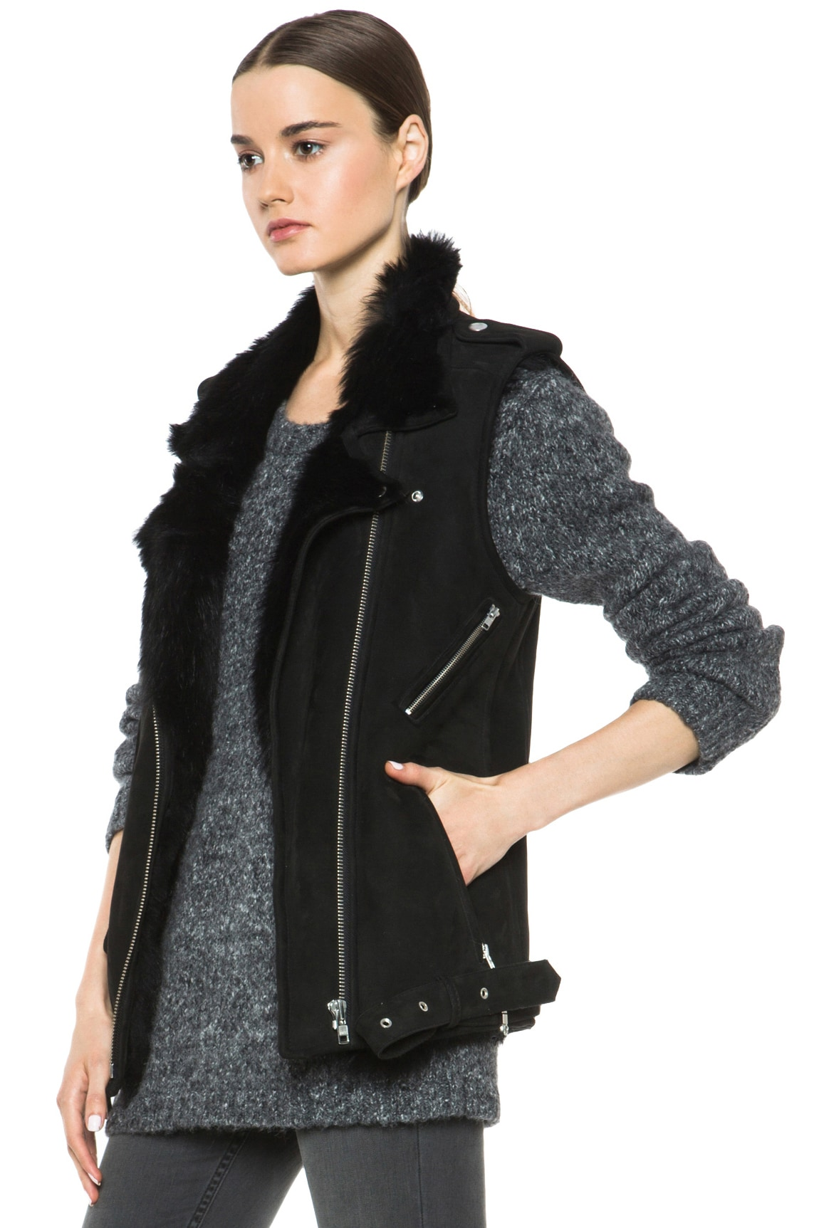 Image 3 of BLK DNM Shearling Motorcycle Vest in Black
