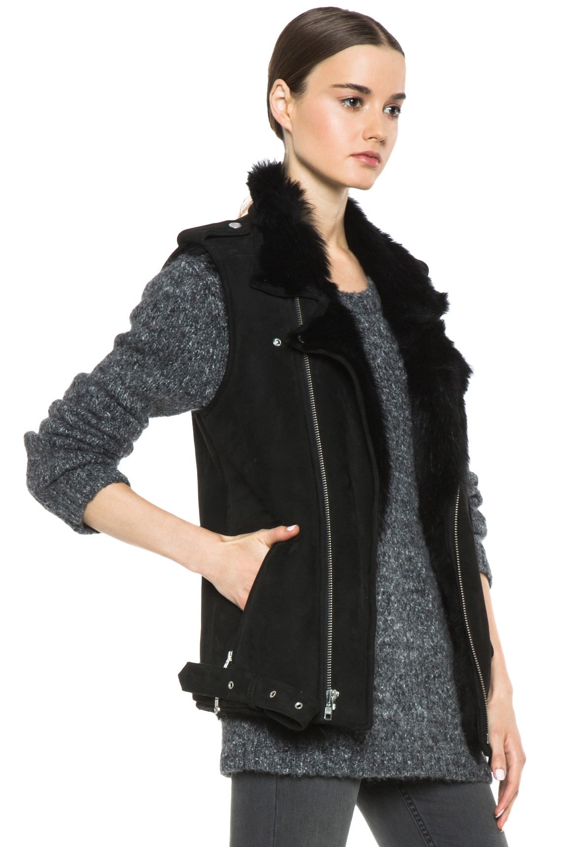 Image 4 of BLK DNM Shearling Motorcycle Vest in Black