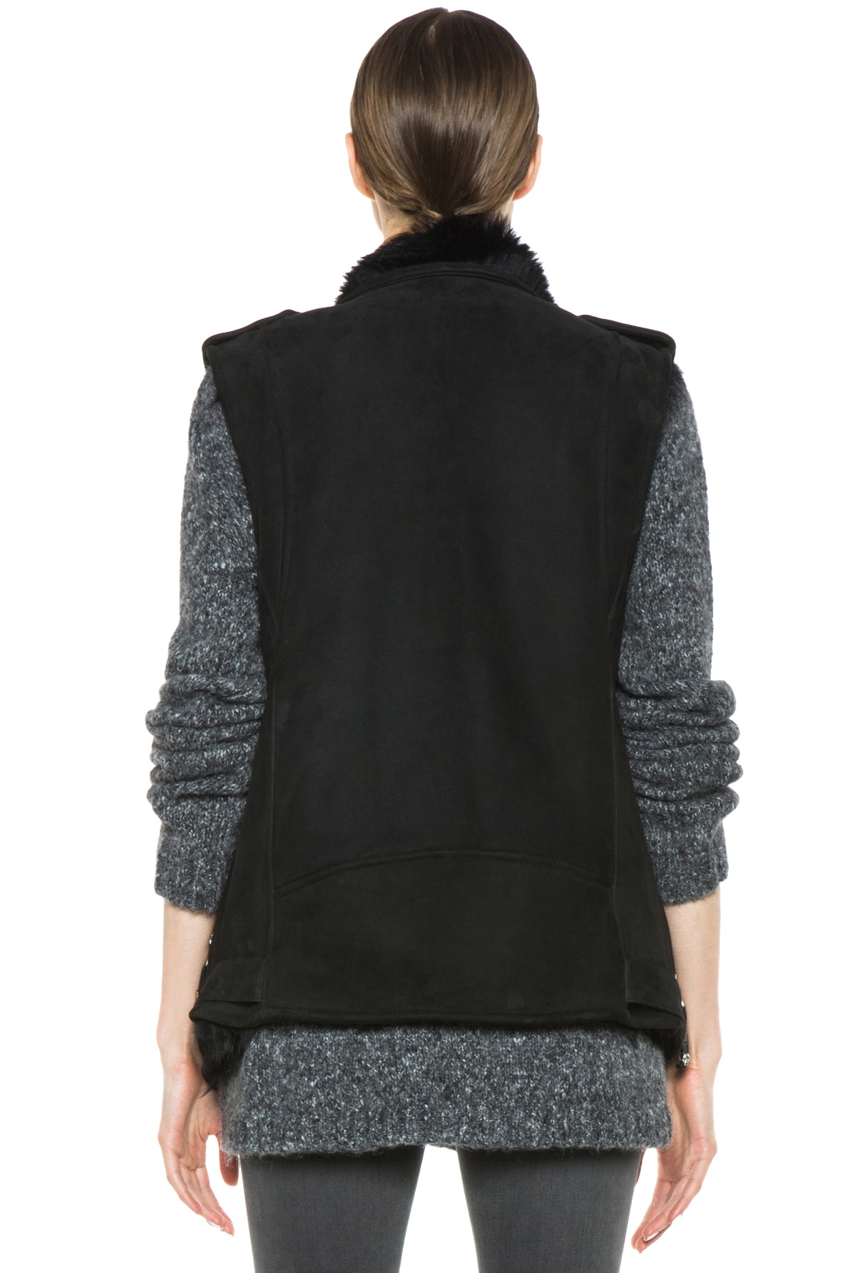 Image 5 of BLK DNM Shearling Motorcycle Vest in Black