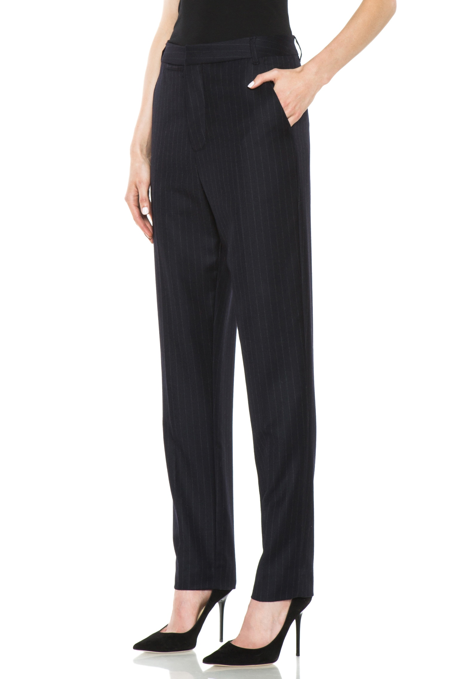 Image 2 of BLK DNM Dropped Crotch Flat Front Wool Pant in Navy Blue Pinstripe