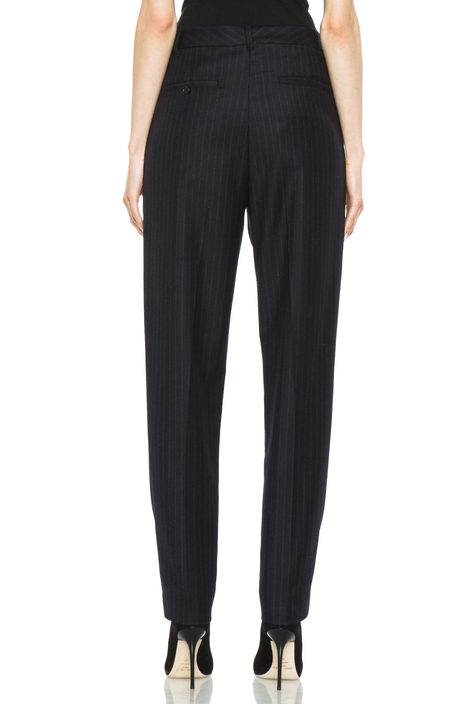 Image 4 of BLK DNM Dropped Crotch Flat Front Wool Pant in Navy Blue Pinstripe