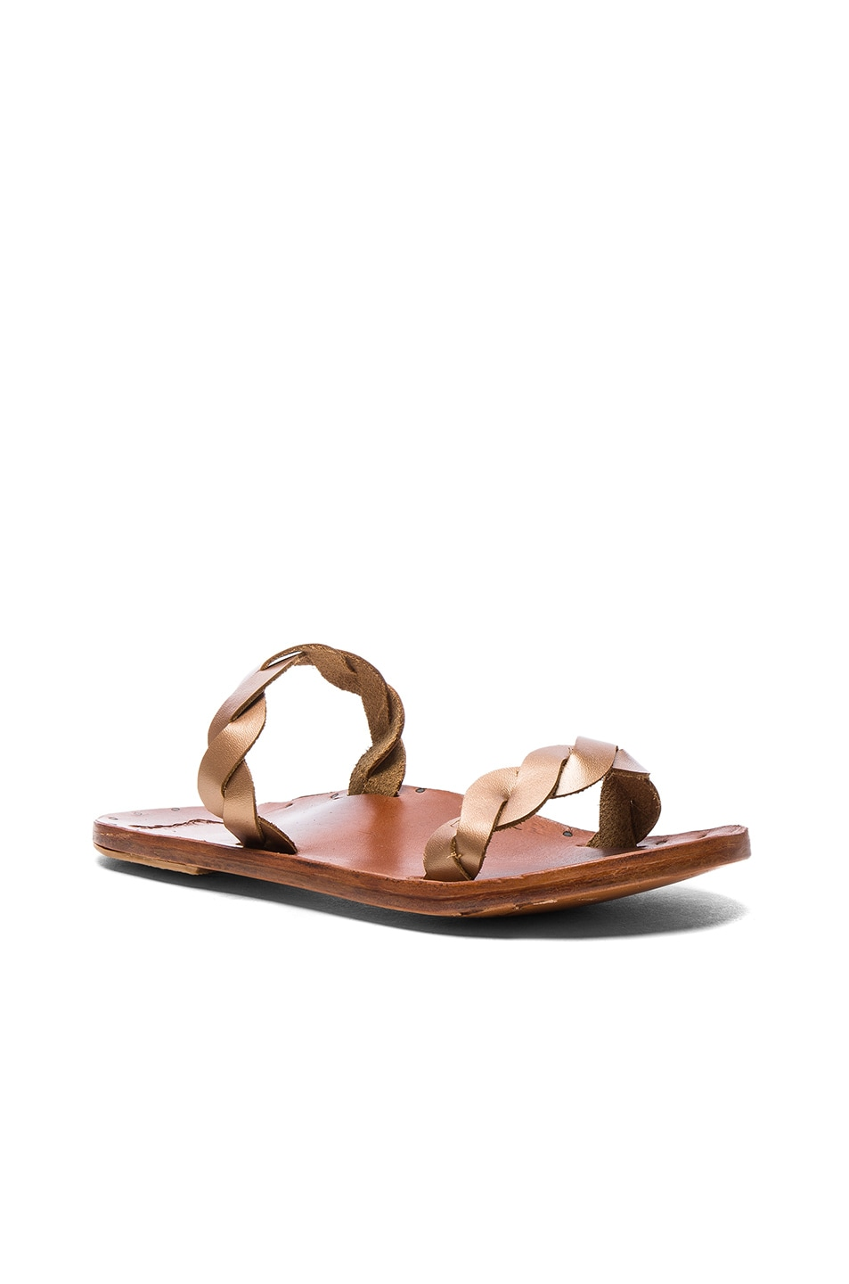 Image 2 of Beek The Pipit Sandals in Rose Gold & Tan