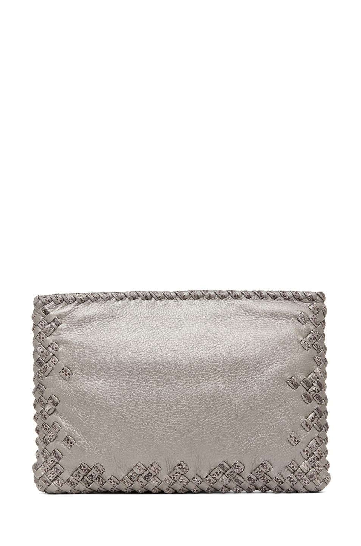 Image 2 of Bottega Veneta Ayers Livrea Spring Frame Clutch in Silver
