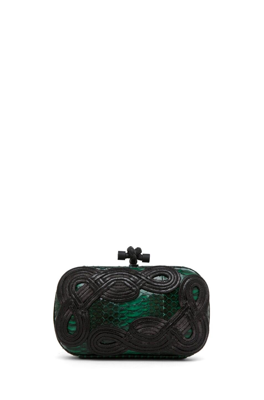Image 1 of Bottega Veneta Knot Snakeskin Passamaneria Clutch in Green