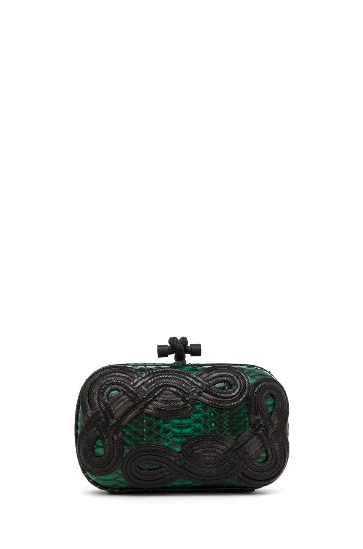 Image 2 of Bottega Veneta Knot Snakeskin Passamaneria Clutch in Green